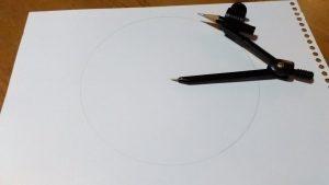 コンパスで円を書く