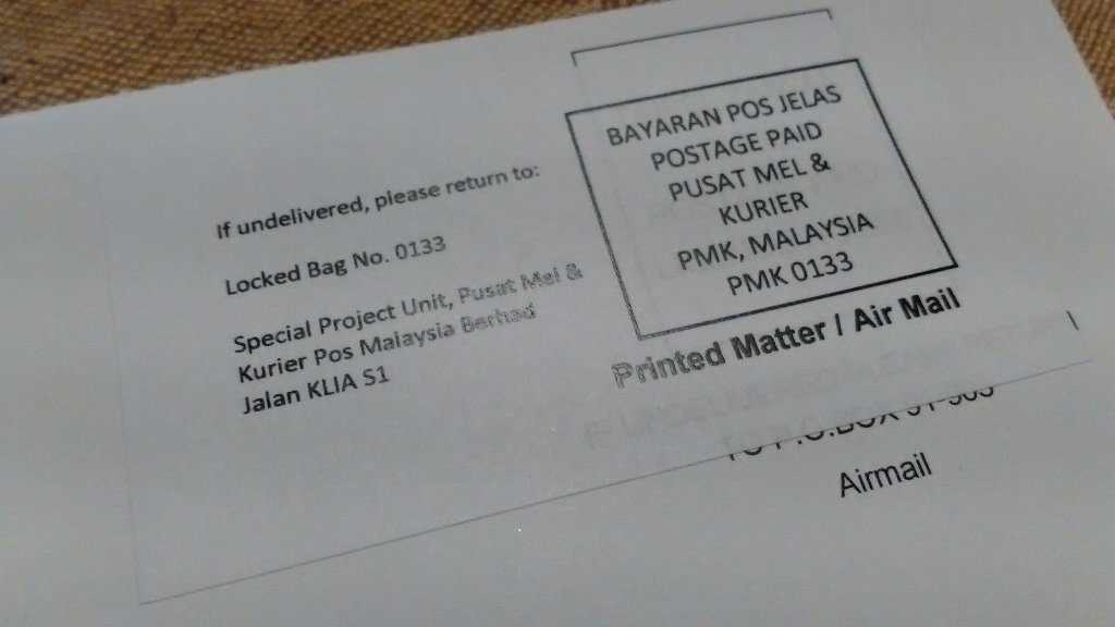封書。Malaysia