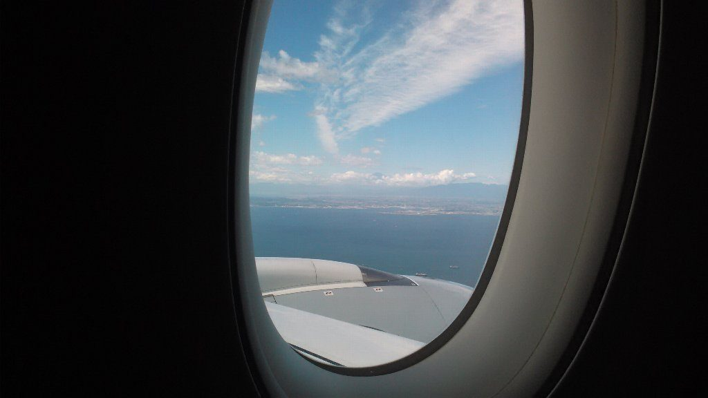 羽田到着直前。富士山