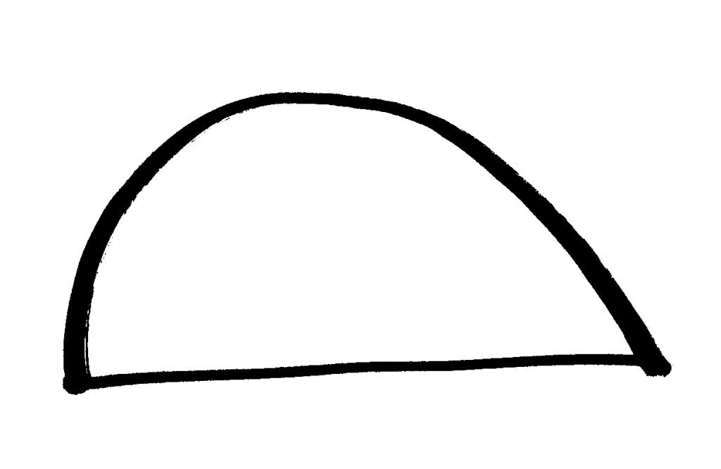 おむすび型の翼