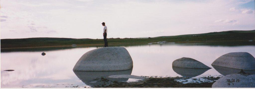 水たまり。石