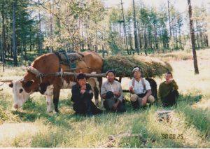 牛車。アサンバイのお父さんと弟