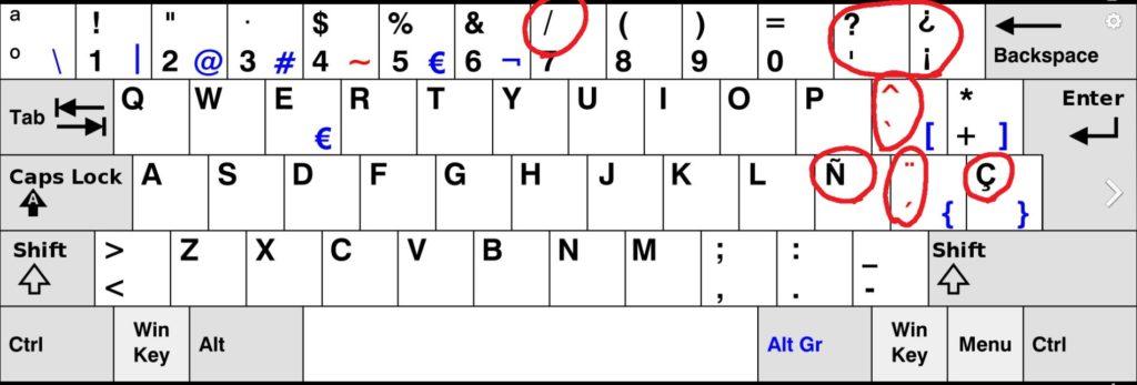 Spanish keyboard3 スペイン語。キー配列