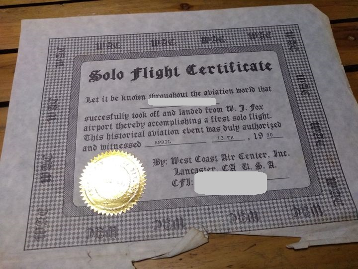solo flight certificate fox