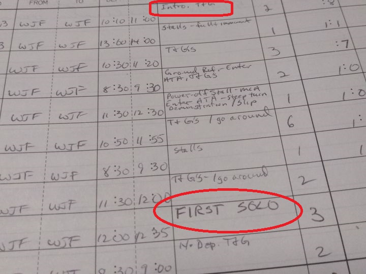 logbook firstsolo
